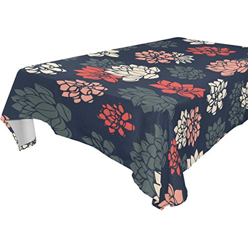 XINGAKA Decor Tablecloth Colorful Hand Drawn Vector Lilies Silhouettes Multicolor Rectangular Table Cover for Dining Room Kitchen Outdoor -