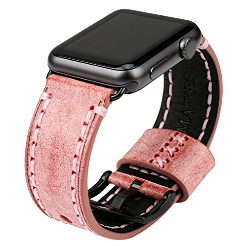 - MAIKES Bridle Leather Watch Strap Replacement forApple Watch 44mm 40mm 42mm 38mm Series 4 3 2 1 iWatch Watchbands Compatible with Apple Watch Band (38mm, Red+Black Buckle)