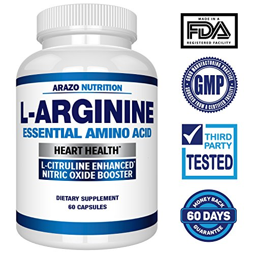 Premium L Arginine - 1340mg Nitric Oxide Booster with L-Citrulline & Essential Amino Acids for Heart and Muscle Gain | NO Boost Supplement for Endurance and Energy | 60 Capsules by Arazo Nutrition (Image #1)