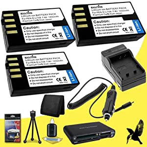 Three Halcyon 1400 mAH Lithium Ion Replacement D-LI109 Battery and Charger Kit + Memory Card Wallet + Multi Card USB Reader + Deluxe Starter Kit for Pentax K-50, K-500, K-r, K-30 Digital SLR Cameras and Pentax D-LI109