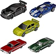 Hot Wheels Fast & Furious 5-Pack 1:64 Scale Cars Exclusive Deco Great Collectible for All