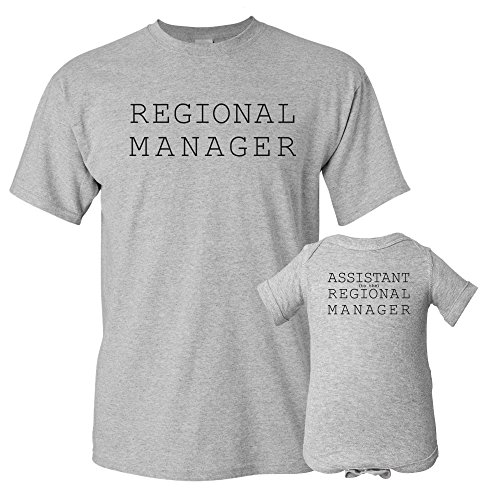 UGP Campus Apparel Regional Manager, Assistant Regional Manager - Funny Joke Adult T Shirt & Infant Onesie Bundle - Grey - Adult L/Newborn