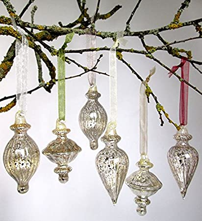 Mercury Glass Baubles Boxed Set Of 6 Christmas Decorations Amazon