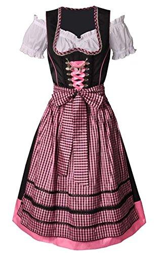 Dirndl midi 70 cm Leonie pink/schwarz Country Line
