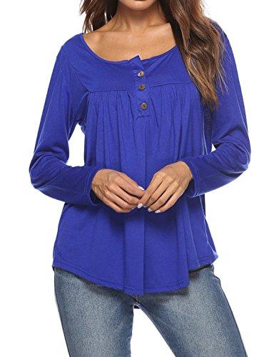 Maglietta E Blu shirt Colore Pieghe T Fox Autunno Donne Moda ulein Tumblr Lunga Primavera Maglie Fr Casual A Cime Manica Tops Bluse qR1t7H6
