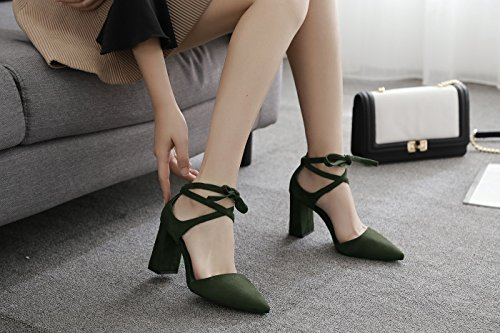 de con Sandalias Alto Zapatos Zapatos de con de tacón Cordones ZXMXY Sandalias Aire al de Libre Alto Primavera de Mujer y de Punta Punta tacón Verano Verde y en Botines w04xtOt8