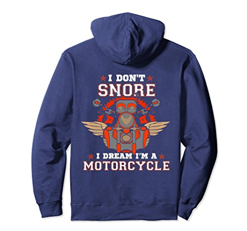 Unisex Snore Dream I'm Motorcycle Hoodie Biker Snoring Husband Dad 2XL Navy