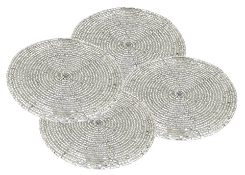 Set of 4 - Indian Handmade Glass Beaded Coaster Coffee Table Silver - Home Furnishing Dining Set - Dia 4 Inches