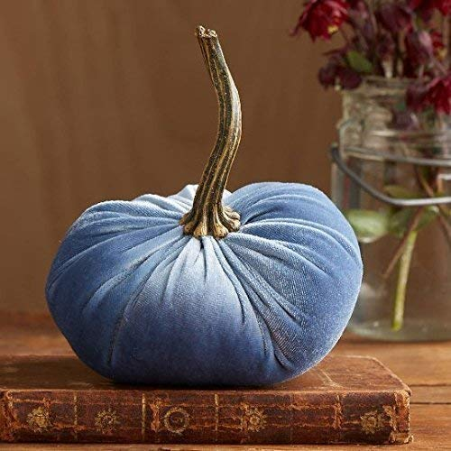 Velvet Pumpkin Slate Blue, Handmade Home Decor, Wedding, Holiday Mantle Decor, Centerpiece, Fall, Halloween, Thanksgiving