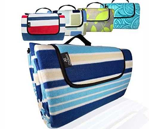XXLarge Premium 3-Layer Most Durable Outdoor Blanket/Picnic Blanket - Waterproof with Cozy Polar Fleece Top| 80x72 Light Weight | Portable & Easy to fold|Perfect for Camping and Beach (Blue Stripe)