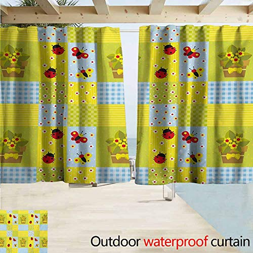 AndyTours Balcony Curtains,Nursery Geometrical Design with Flowers in Pot Butterflies and Ladybugs,Rod Pocket Energy Efficient Thermal Insulated,W63x72L Inches,Pale Green Pale Blue Yellow ()