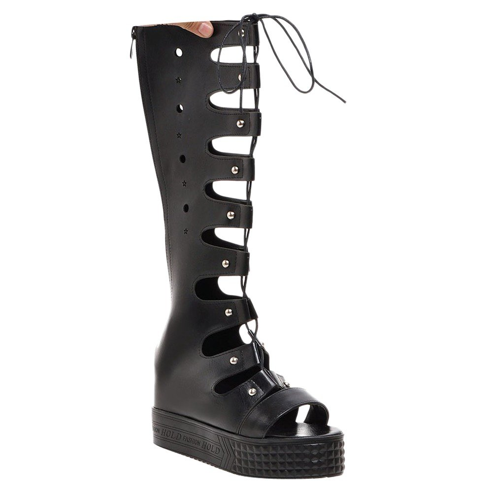 Charm Foot Women's Open Toe Lace up Zipper Platform Summer Boots (6, Black)