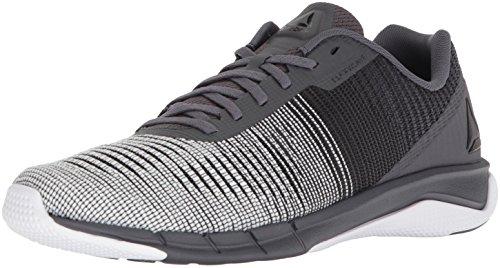Reebok Men's Fast Flexweave Running Shoe, ash Grey/Black/White, 10 M US (Best Crossfit Shoes For Running)