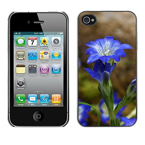 Premio Sottile Slim Cassa Custodia Case Cover Shell // F00031860 florettes UltraBlue // Apple iPhone 4 4S 4G