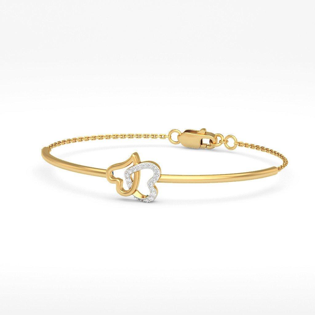 9.5 inches 18K Yellow Gold 0.099 cttw Round-Cut-Diamond identification-bracelets Size IJ| SI