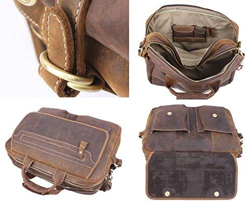 Men's Handmade Vintage Leather Briefcase / Leather Messenger Bag / 15'' MacBook Pro 14'' Laptop Bag / Travel Bag by Memory1985 (Image #4)
