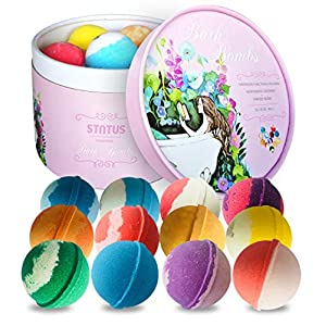 STNTUS Bath Bombs Gift Set (12 x 86g), Handmade Natural Spa Bubble Bombs and Floating Fizzies, Relaxation and Moisturizing – Perfect Valentines Birthday Christmas Gift for Women, Kids
