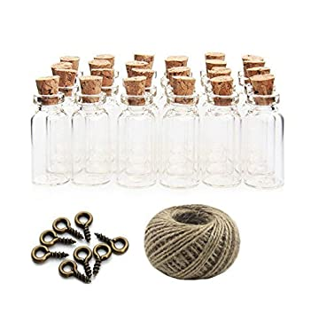 Yalulu - 20 botellas de cristal de corcho de 20 ml, para decorar tu casa