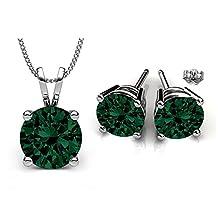 Swarovski Crystals Birthstone Stud Pendant & Earrings Set