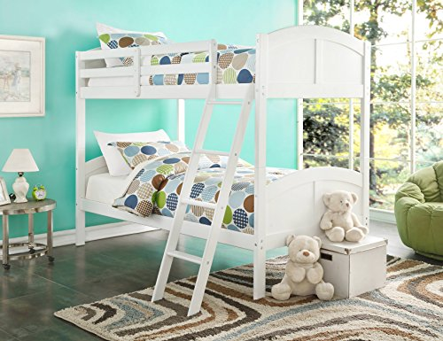 (Major-Q White Finish Wood Frame Twin Over Twin Bunk Bed with Easy Access Guard Rail (7037009))
