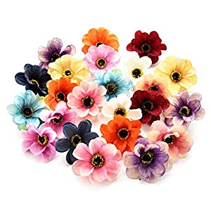 Fake flower heads in bulk wholesale for Crafts Silk Sunflower Daisy Peony Handmake Artificial Flower Heads Wedding Gifts Decoration DIY Wreath Gift Scrapbooking Craft Flower 50pcs 6cm 89