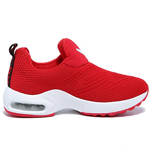 BODATU Kids Boys Girls Running Shoes Comfortable Fashion Light Weight Slip on Cushion(10, Red) - Image 4