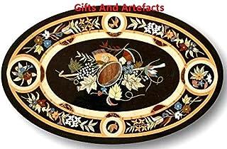 Gifts And Artefacts 121,9x 76,2cm Marmo Nero Ovale da Tavolo da Pranzo Patio intarsio Pietra Dura Design