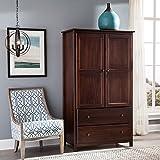 Grain Wood Furniture Shaker Solid Wood Cherry Finish 2-door Armoire