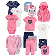 Carter's Baby Girls' 15-Piece Basic Essentials Set, Floral, 6 Months