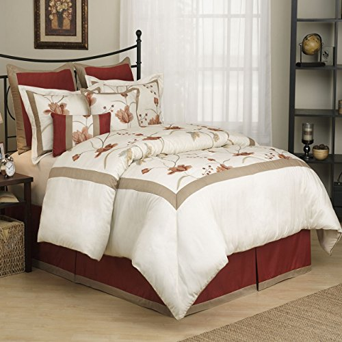 Set Comforter Queen Spice (12 Piece Eve Champaign/Spice Embroidered Bed in a Bag Set Queen)