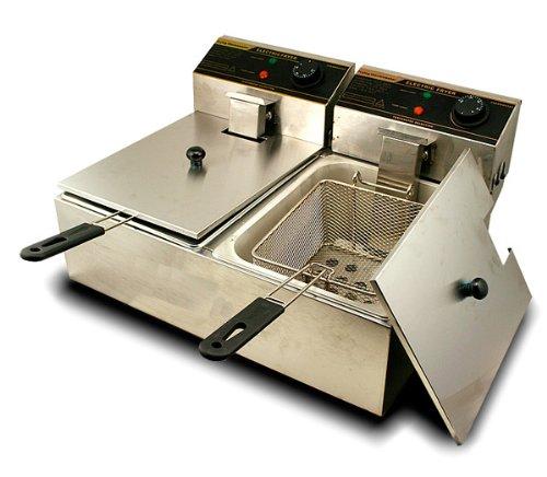 Generic 5000W 12 Liter Electric Countertop Deep Fryer Dual Tank 6 Commercial Restaurant by Generic