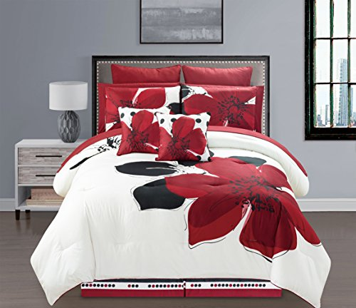 12 Pieces MARISOL Red Black White Comforter Bed-in-a-bag ...