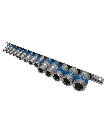 AERZETIX: Juego de 14 llaves de vaso E-Torx E4-E5-E6