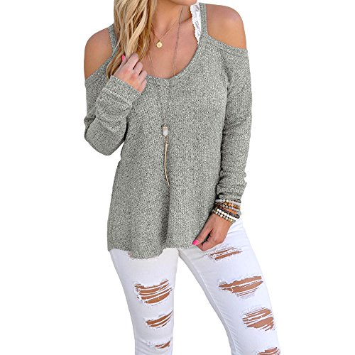 Eiffel Women's Cold Shoulder Knit Long Sleeves Pullover Sweater Tops Blouse Tunic Gray
