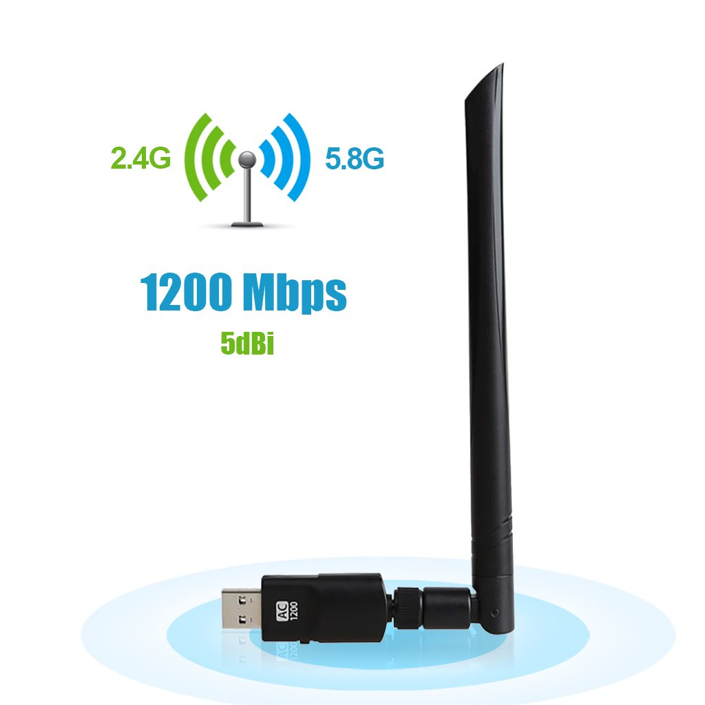OKEU 1200Mbps WiFi USB Adaptateur, Dual Band 2.4 G/5.8G Clé Wifi Dongle Adaptateur réseau sans Fil USB 3.0 5dBi Antenne 802.11 ac/a/b/g/n pour MacOS/Linux/Win10/8/7/ Vista/ XP