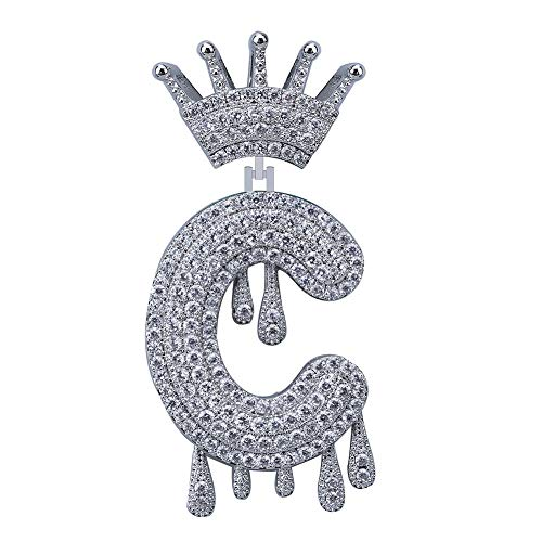 HECHUANG Micropave Simulated Diamond Iced Out Crowned Initial Dripping Letters Pendant with Rope Chain (Silver C, 24)