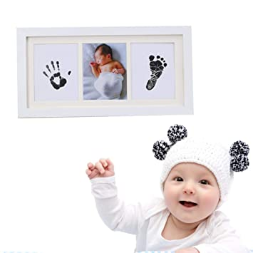 Baby Infant Newborn Handprint Footprint Imprint Clean Touch Ink Pad Photo Frame