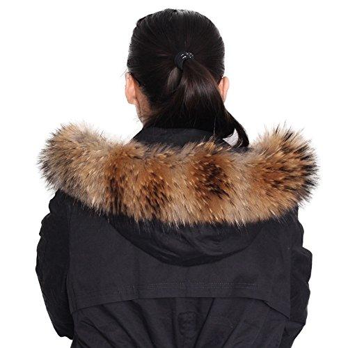 Dancel - Bufanda de pelo de mapache autentico, para mujer, para cuello de abrigo o borde de capucha, 80x13cm