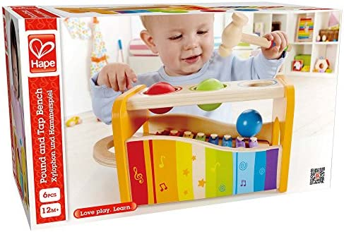 Hape Pound & Tap Bench with Slide Out Xylophone – Award Winning Durable Wooden Musical Pounding Toy for Toddlers, Multifunctional and Bright Colours, Yellow