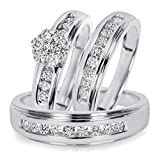Silvernshine Jewels 3/4 Ct D/VVS1 Diamond Men's & Women's Engagement Ring Trio Set 14K White Gold Fn