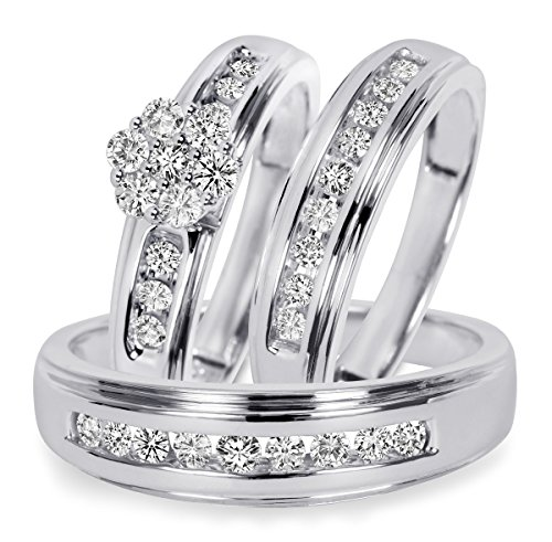 Silvernshine Jewels 3/4 Ct D/VVS1 Diamond Men's & Women's Engagement Ring Trio Set 14K White Gold Fn by Silvernshine Jewels