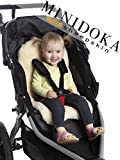 Baby Sheepskin Stroller Liner Seat Cover Naturally Breathable for Year Round Comfort - Easy Universal Fit - by Minidoka Sheepskin