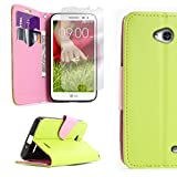 lg l70 phone accessories - CoverON for LG Optimus L70 Exceed 2 Realm Pulse Ultimate 2 L41C Neon Green / Light Pink Wallet Flip Pouch Stand Phone Cover Case + Screen Protector