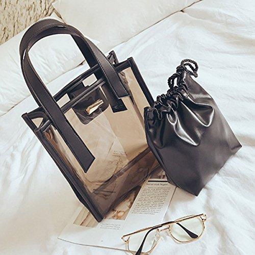 Sra La Transparent De Della Personalità Borsa Gelatina Di Bag Negro Jelly Handbag Sacchetto Personality Shoulder Bolso Trasparente Spalla H5xECqw5