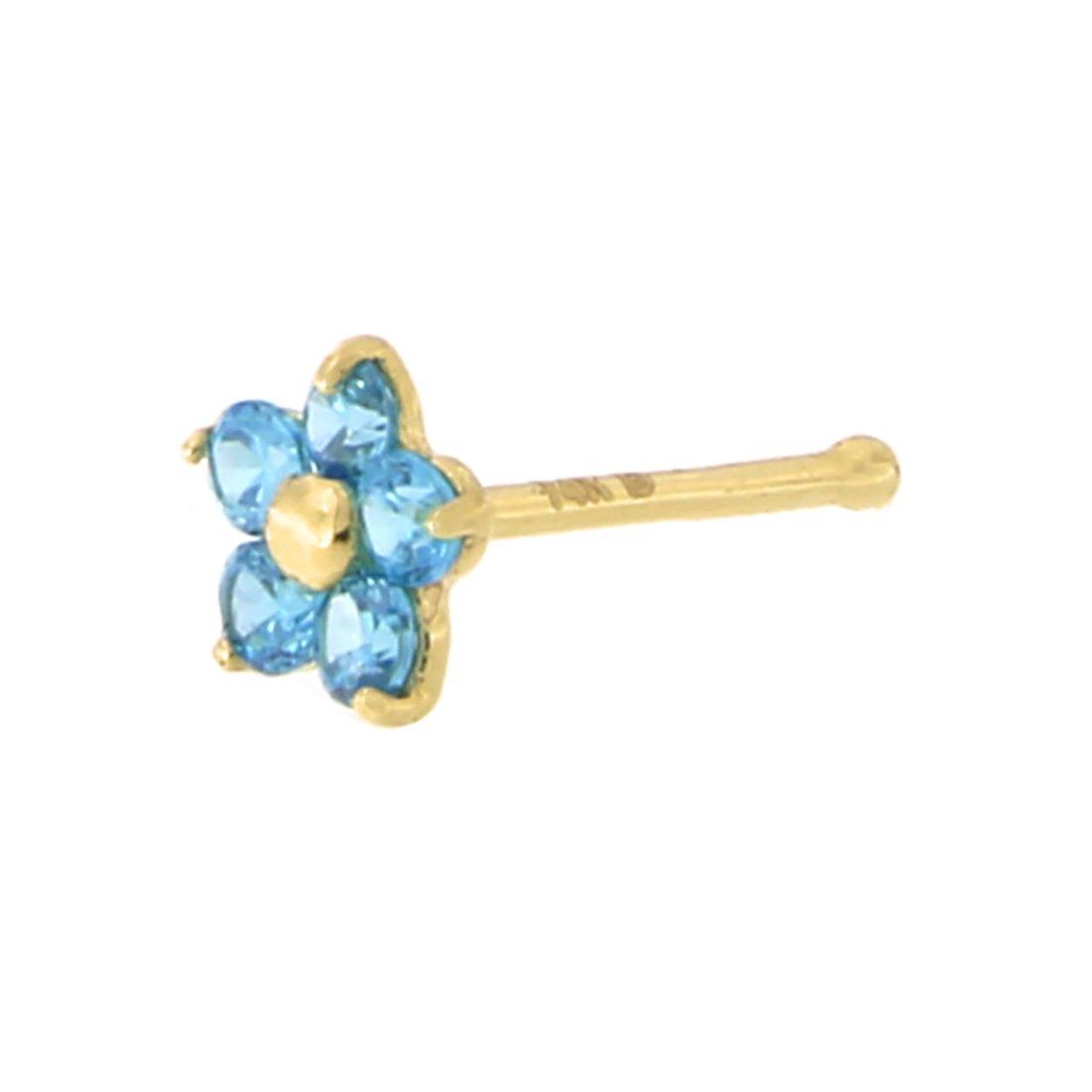 14k Yellow Gold Simulated Blue Topaz December Birthstone Flower Nose Stud Ring 20 Gauge