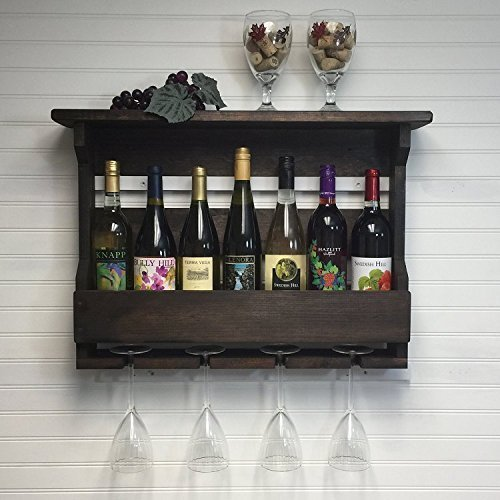 Wall Mounted 7 Bottle Wine Rack And Stemware Holder. Rustic Wooden Wine Rack ,