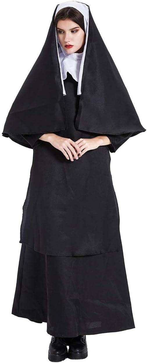 Feynman Disfraz de Predicador Jesucristo para Halloween Vestido Sacerdote Monja Fiesta Juego de Roles Traje de Espectáculo S