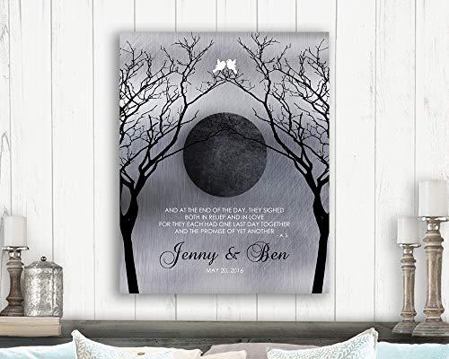 Personalized Love Poem Night Moon Bare Trees Faux Shiny Tin Background White Doves Custom Art Print 1344 Paper Print