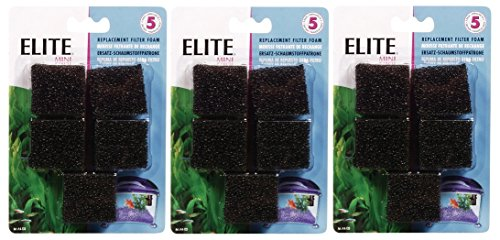 Elite Mini Underwater Filter Replacement Foam (3 Packages with 5 Filters each / 15 (Underwater Filter Foam Insert)