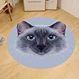 Gzhihine Custom round floor mat Animal Portrait Image of Thai Siamese Cat with Retro Style Lettering Artwork Bedroom Living Room Dorm White Sky Blue and Grey